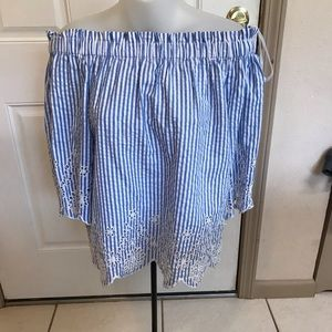 NWT Med Style Envy blue/white SS top